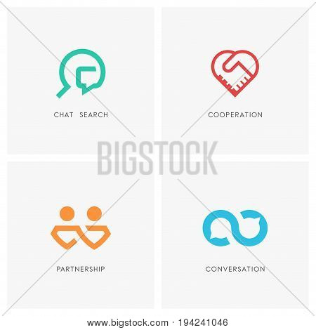 Cooperation logo set. Chat search, handshake, business partners, infinity conversation and heart symbol - partnership, teamwork, dialogue and love icons.