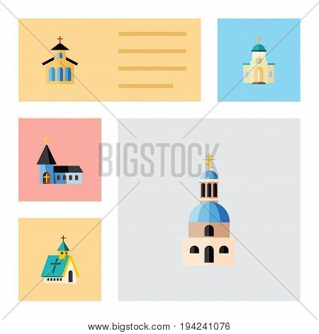 Flat Icon Christian Set Of Christian, Religious, Catholic And Other Vector Objects. Also Includes Christian, Architecture, Catholic Elements.