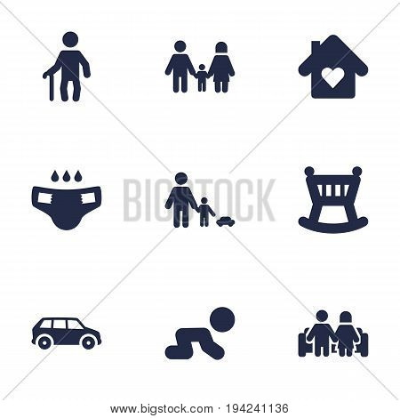 Set Of 9 Relatives Icons Set.Collection Of Nappy, Grandpa, Cot Elements.