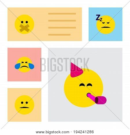 Flat Icon Expression Set Of Hush, Displeased, Cold Sweat And Other Vector Objects. Also Includes Party, Hush, Displeased Elements.