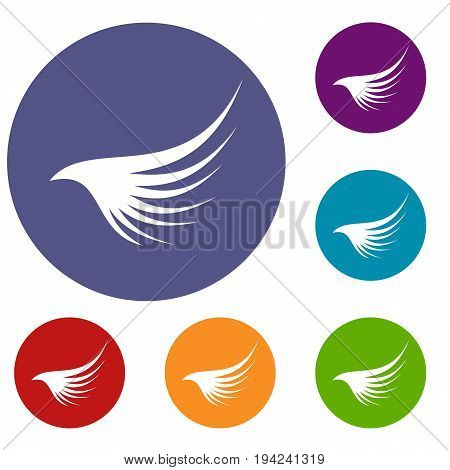 Wing icons set in flat circle reb, blue and green color for web