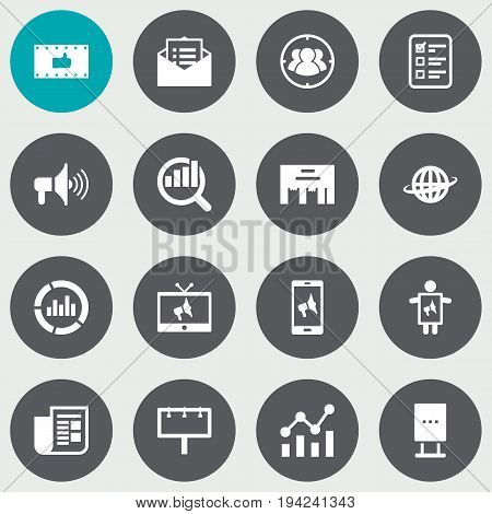 Set Of 16 Trade Icons Set.Collection Of Customer Summary, Billboard, Placard And Other Elements.