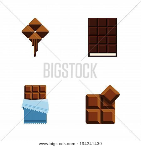 Flat Icon Chocolate Set Of Dessert, Cocoa, Bitter And Other Vector Objects. Also Includes Chocolate, Cocoa, Shaped Elements.