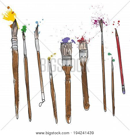 art materials, line drawing set of squirrel, bristle and synthetic brushes for painting and calligraphy, hand drawn vector illustration
