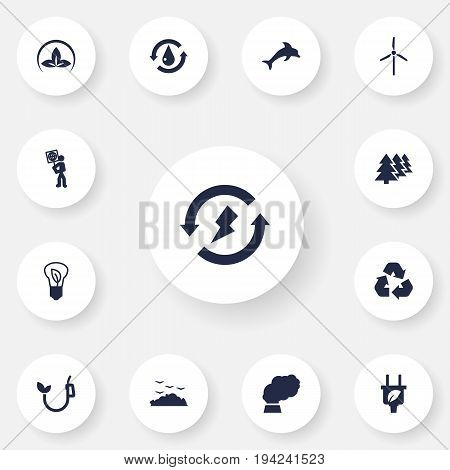 Set Of 13 Atmosphere Icons Set.Collection Of Rubbish, Friendly, Renewable And Other Elements.