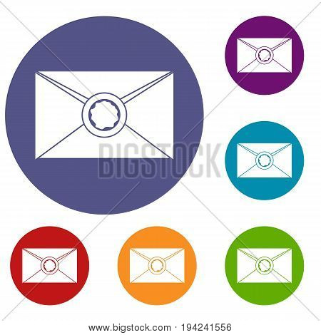 Envelope with red wax seal icons set in flat circle reb, blue and green color for web