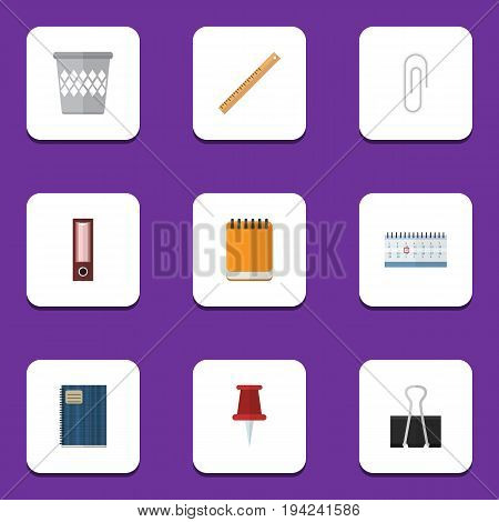 Flat Icon Equipment Set Of Notepaper, Dossier, Paper Clip And Other Vector Objects. Also Includes Bin, Folder, Trashcan Elements.