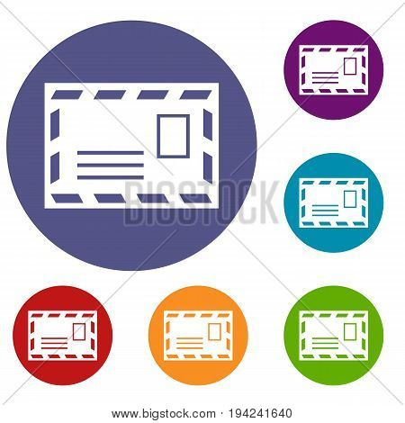 Postage envelope with stamp icons set in flat circle reb, blue and green color for web
