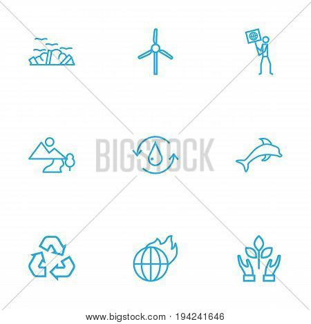 Set Of 9 Atmosphere Outline Icons Set.Collection Of Wind Turbine, Ecologist, Recycling And Other Elements.