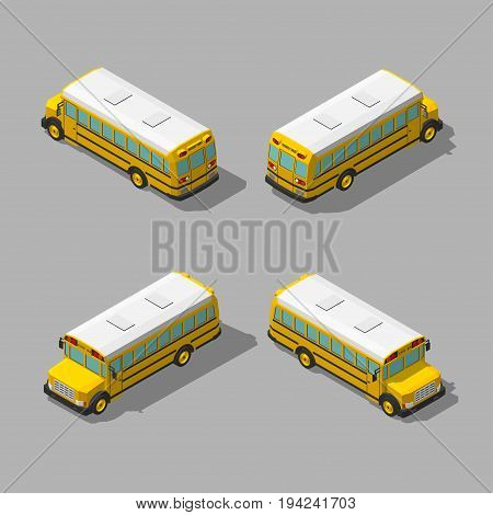 Yellow isometric 3d school bus. Flat style vector