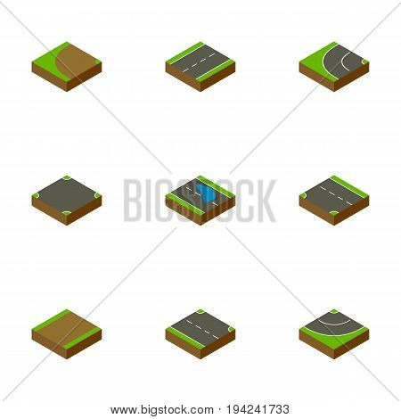 Isometric Way Set Of Downward, Turning, Driveway And Other Vector Objects. Also Includes Puddle, Intersection, Single Elements.
