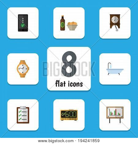 Flat Icon Lifestyle Set Of Clock, Beer With Chips, Whiteboard And Other Vector Objects. Also Includes Chart, Chips, Beer Elements.