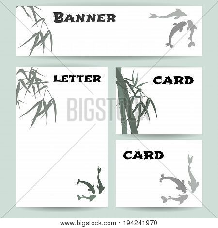 Set of blank templates. Banner, cards and letterhead paper. Illustration with hand-drawing ink illustration. Hand-drawing ink illustration. Koi carps, branches and bamboo leaves. traditional Chinese painting, Japanese art sumi-e, vector