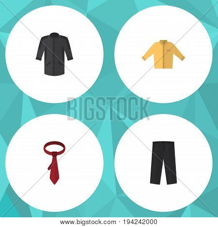 Flat Icon Dress Set Of Cravat, Banyan, Uniform And Other Vector Objects. Also Includes Trousers, Necktie, Tie Elements.