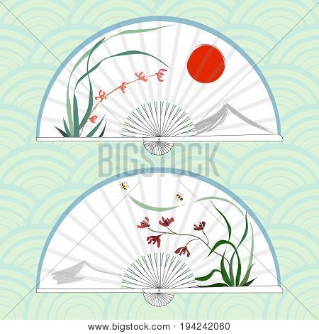 Vector illustration of two Asian folding paper fans. Hand-drawing ink illustration, vector stylization. Wild orchid, red flowers. Background of mountain and red sun. Flying bumblebee . Japanese painting style sumi-e. Traditional Chinese painting gohua.