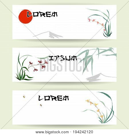 Three templates of horizontal banners. Backgrounds of wild orchid, branches and bamboo leaves, red sun, mountain, flying bumblebee. Traditional Chinese painting, Japanese art sumi-e, vector stylization