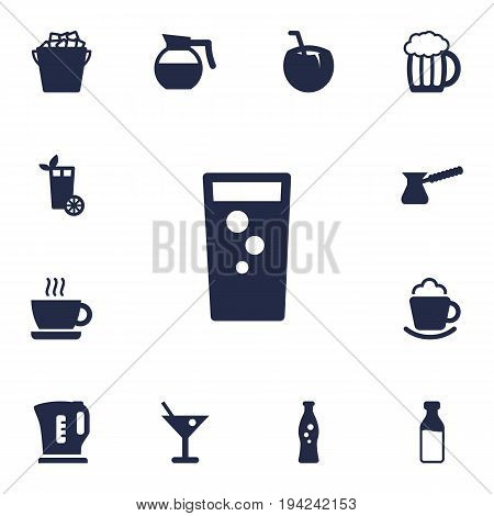 Set Of 13 Beverages Icons Set.Collection Of Turkish Coffee, Cocktail, Fridge And Other Elements.