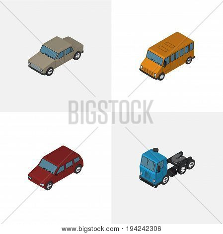Isometric Automobile Set Of Truck, Car, Auto And Other Vector Objects. Also Includes Lorry, Sedan, Car Elements.