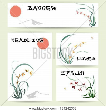 Set of blank templates. Banner, cards and letterhead paper. Illustration with hand-drawing ink illustration. Backgrounds of wild orchid, branches and bamboo leaves, red sun, mountain, flying bumblebee. Traditional Chinese painting, Japanese art sumi-e,