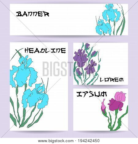 Set of blank templates. Illustration with hand-drawing illustration, vectorized irises. Stylized traditional Chinese painting, Japanese art sumi-e, vector