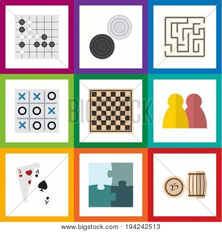 Flat Icon Entertainment Set Of Ace, Jigsaw, Lottery And Other Vector Objects. Also Includes Bingo, Chess, Jigsaw Elements.