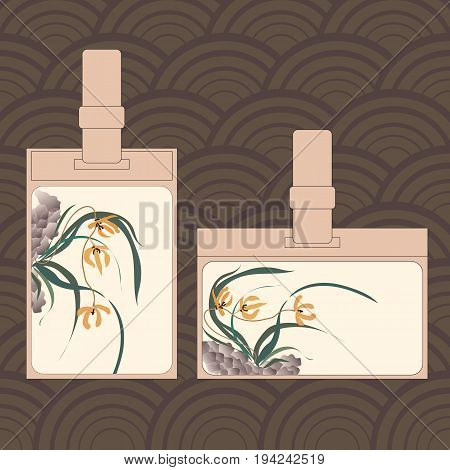 Event staff id cards with lanyard, tag holder and badge templates. Wild orchid growing on stones. Traditional Chinese painting, Japanese art sumi-e, vector stylization
