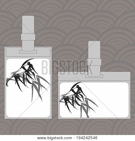 Event staff id cards with lanyard, tag holder and badge templates. Cover design with the image of hand-drawing ink illustration. Branches and bamboo leaves. traditional Chinese painting, Japanese art sumi-e, vector