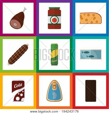 Flat Icon Eating Set Of Tin Tuna, Meat, Fizzy Drink And Other Vector Objects. Also Includes Beef, Sauce, Macaroni Elements.