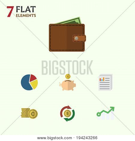 Flat Icon Incoming Set Of Billfold, Graph, Money Box And Other Vector Objects. Also Includes Cash, Arrow, Interchange Elements.