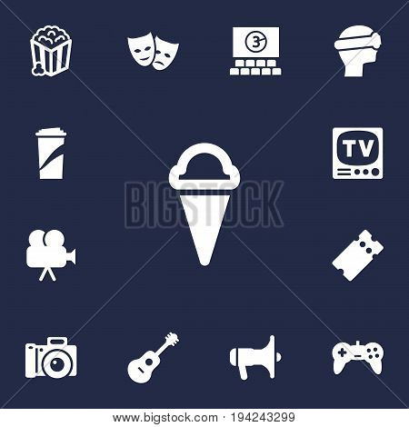Set Of 13 Pleasure Icons Set.Collection Of Snack, Pass, Hall And Other Elements.