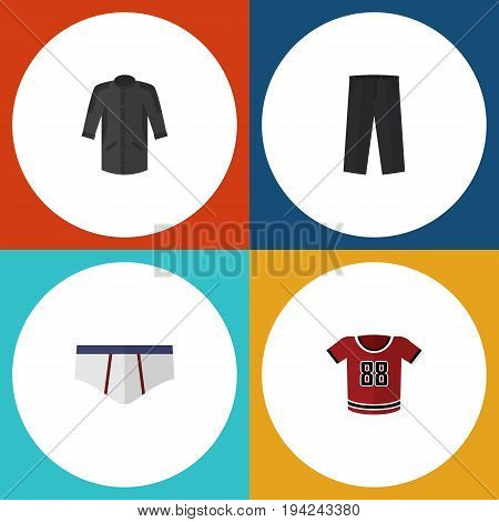 Flat Icon Clothes Set Of T-Shirt, Uniform, Underclothes And Other Vector Objects. Also Includes Clothes, Underwear, Uniform Elements.