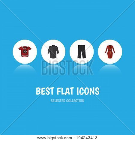 Flat Icon Dress Set Of Clothes, Pants, T-Shirt And Other Vector Objects. Also Includes Blouse, Kimono, Uniform Elements.