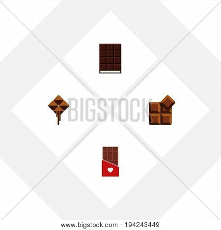 Flat Icon Sweet Set Of Delicious, Cocoa, Dessert And Other Vector Objects. Also Includes Delicious, Shaped, Dessert Elements.