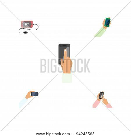 Flat Icon Smartphone Set Of Smartphone, Touchscreen, Accumulator And Other Vector Objects. Also Includes Interactive, Charge, Smartphone Elements.