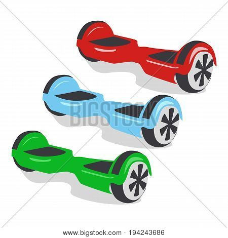 Multicolored gyroscopes, personal eco transport, a gyro scooter, smart balance wheel. New modern technologies
