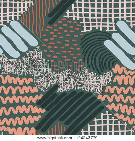 Complex Hand Drawn Stripes and Dots Seamless Pattern. Gray, teal and pink colored hand drawn seamlrss patterns collection. Repeating graphic design. Hand drawn elements.