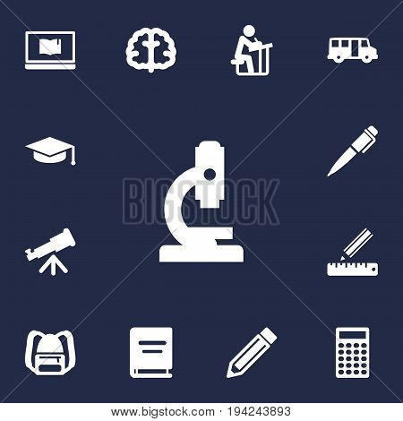Set Of 13 Education Icons Set.Collection Of Drawing Tool, Microbiology, Textbook And Other Elements.