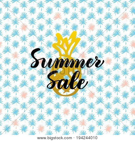 Summer Sale Card Design. Vector Illustration of Nature Trendy Postcard with Calligraphy.