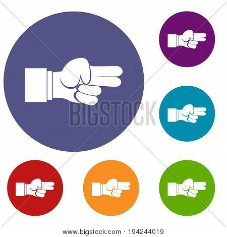 Hand showing two fingers icons set in flat circle reb, blue and green color for web