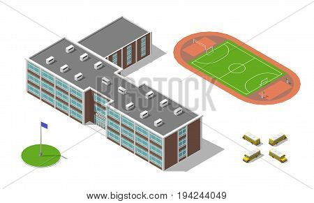 Flat 3d isometric school building, bus, stadium isolated on white. Vector illustration isolated on white. Elements of infographic.