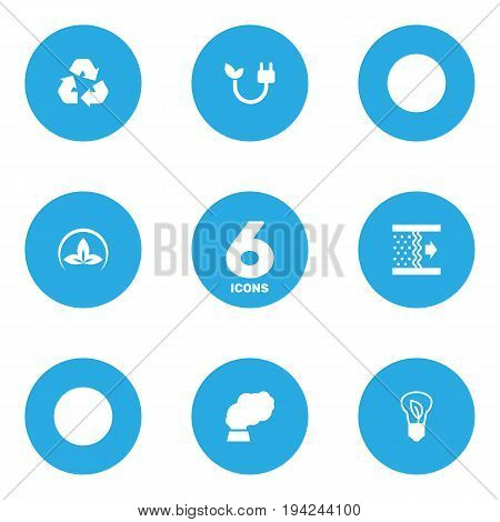 Set Of 6 Ecology Icons Set.Collection Of Purification, Friendly, Energy And Other Elements.