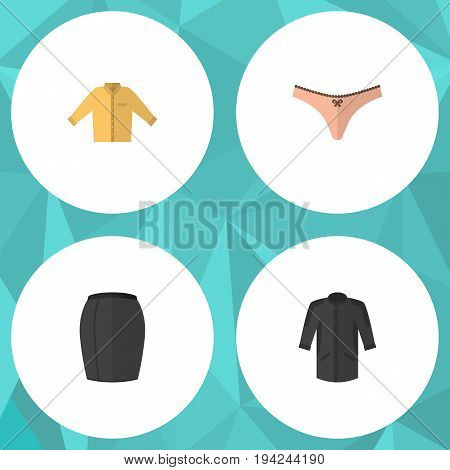Flat Icon Garment Set Of Stylish Apparel, Banyan, Lingerie And Other Vector Objects. Also Includes Kimono, Skirt, Apparel Elements.