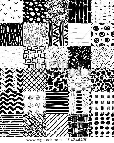 Hand Drawn Seamless Patterns Set. Stripes, smears, spots, dots and circles seamless patterns collection. Black on white reapiting graphic set. Repeating graphic design. Hand drawn elements.