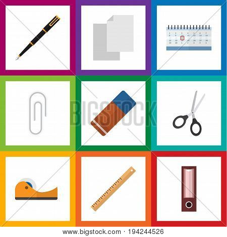 Flat Icon Tool Set Of Nib Pen, Straightedge, Sticky And Other Vector Objects. Also Includes Blank, Calendar, Scissors Elements.