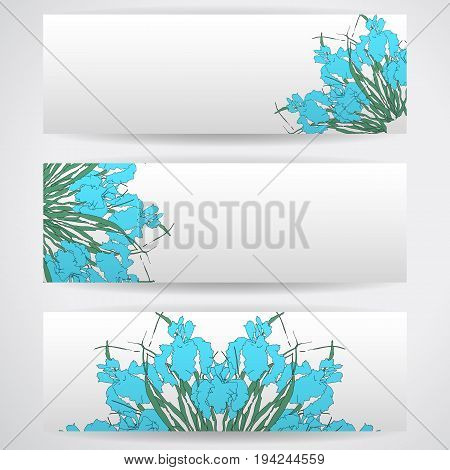 Three templates of horizontal banners . Floral Mandala pattern, wild irises, vector