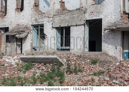 The Old Destroyed Brick Multi-storey Building