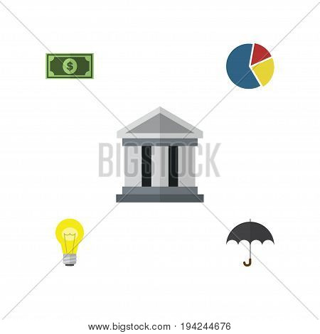 Flat Icon Finance Set Of Graph, Greenback, Bubl And Other Vector Objects. Also Includes Bulb, Greenback, Light Elements.