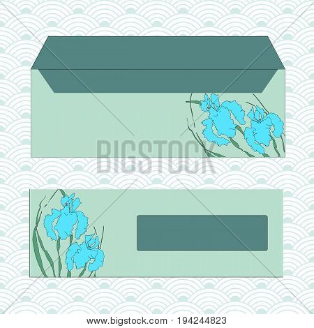 Envelopes for letters, front and back. Hand-drawing ink illustration. Vectorized irises, hand-drawing illustration, Stylized traditional Chinese painting, Japanese art sumi-e