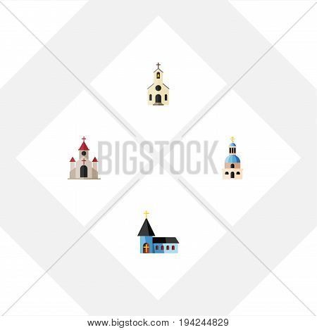 Flat Icon Building Set Of Traditional, Church, Building And Other Vector Objects. Also Includes Building, Traditional, Catholic Elements.