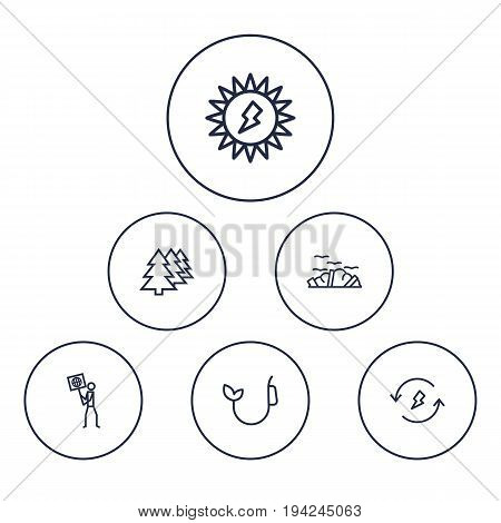 Set Of 6 Bio Outline Icons Set.Collection Of Renewable Energy, Ecologist, Fuel And Other Elements.